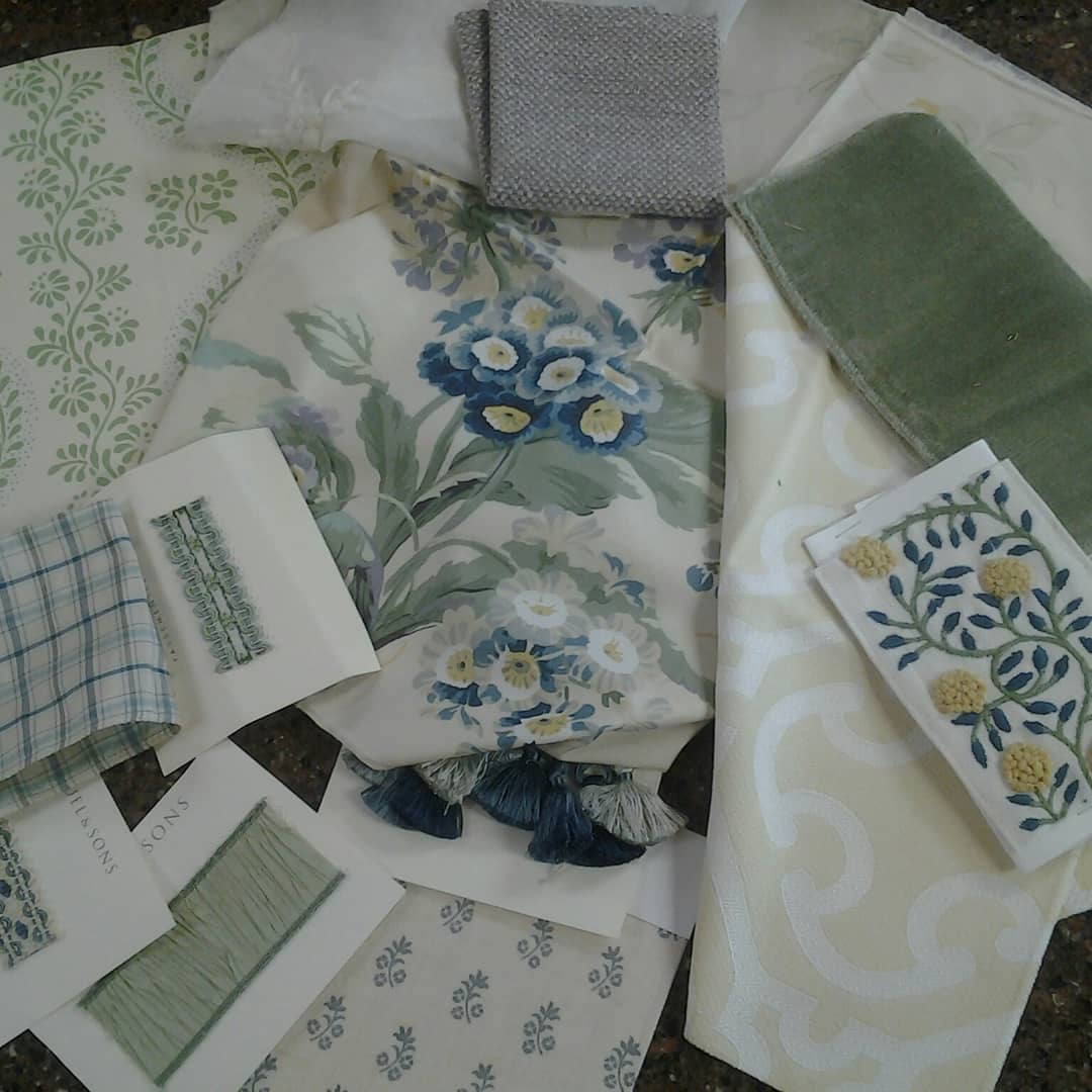 printed samples of room with custom drapery chicago