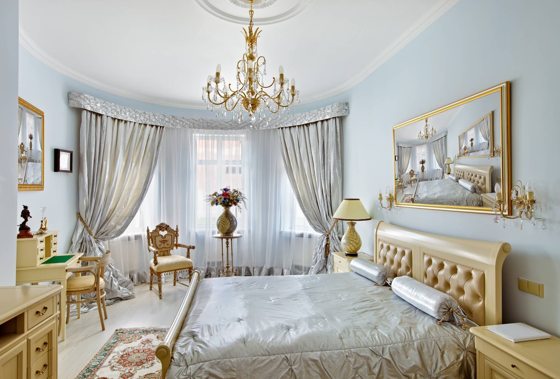 bedroom and custom draperies and bedding chicago